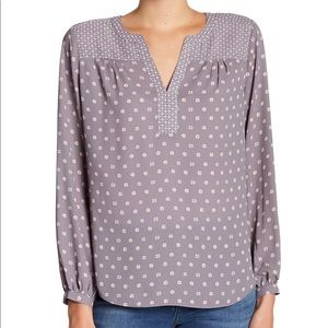 NWT NYDJ Peasant Split Collar Blouse